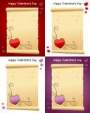 Voluta vieja del pergamino del día de la tarjeta del día de San Valentín s Foto de archivo