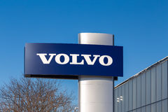 Volvo Automobile Dealership and Sign Stock Images