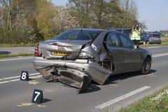 Volvo bil som är involverad i en olycka Arkivbild