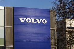 Volvo car logo in front of dealership building on February 25, 2017 in Prague, Czech republic Royalty Free Stock Photography