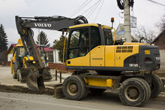 Volvo digger on duty Royalty Free Stock Photo