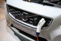 Volvo Electric C30 plugged at Paris Motor Show Royalty Free Stock Images