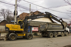Volvo excavator and truck Royalty Free Stock Photography