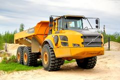 Volvo A40F. NOVYY URENGOY, RUSSIA - JUNE 24, 2014: Yellow Volvo A40F articulated dump truck at the city street stock image
