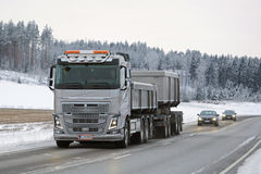 Volvo FH16 650 Combination Truck on Winter Road Stock Photography