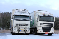 Volvo FH and DAF XF Trucks in Winter Snow royalty free stock image
