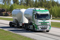 Volvo FH Double Tanker For Cement Haul at Speed royalty free stock images