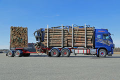 Volvo FH16 700 Logging Truck Moving on a Yard Royalty Free Stock Image