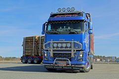 Volvo FH16 700 Logging Truck Moving on a Yard Royalty Free Stock Photo