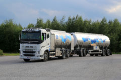 Volvo FH Milk Tank Truck in Motion royalty free stock photography
