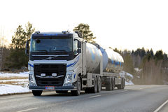 Volvo FH Milk Tank Truck at Sunset Time stock photo
