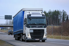 Volvo FH Semi Moving along Highway Stock Image