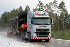 Volvo FH Semi Special Transport in Winter stock photo