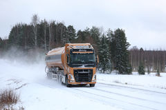 Volvo FH Semi Tank Truck on Snowy Highway royalty free stock photography