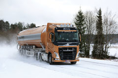Volvo FH Semi Tanker on Snowy Highway stock photography