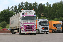 Volvo FH Semi Trailer Leaves Truck Stop stock photo