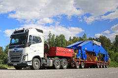 Volvo FH16 750 Semi Transports Shipyard Crane Bogie Stock Photo