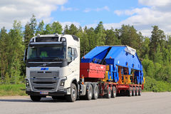 Volvo FH16 750 Semi Transports Shipyard Crane Component Stock Photos