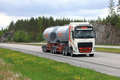 Volvo FH Tank Truck Trucking in Summer Scenery stock photography