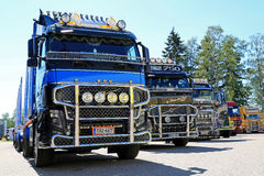 Volvo FH Timber Truck with Other Show Trucks Royalty Free Stock Image