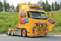 Volvo FH13 Truck with Cars Movie Theme Stock Images