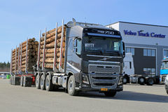 Volvo FH16750 WoodPro Timber Hauler. LIETO, FINLAND - APRIL 5, 2014: Volvo Trucks presents the new FH16 750hp timber hauler as part of their new truck range at Royalty Free Stock Photography