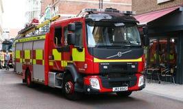 Volvo Fire Engine Belfast Fire Brigade. Fire engine belonging to Belfast Fire Brigade Northern Ireland in a Belfast Street stock photo