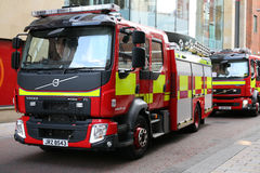 Volvo Fire Engines Belfast Fire Brigade. Fire engines belonging to Belfast Fire Brigade Northern Ireland in a Belfast Street Royalty Free Stock Image