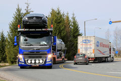 Volvo FM Car Carrier Hauls New Cars Royalty Free Stock Photos