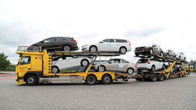 Volvo FM Car Carrier Hauls New Cars Stock Photos