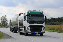 Volvo FM Milk Truck Collects Milk stock photo