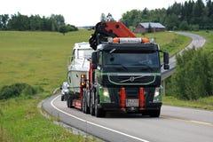 Volvo FM Semi Boat Transport on Rural Road Royalty Free Stock Image