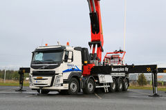 Volvo FM Truck equipped with Heavy Crane Royalty Free Stock Photo