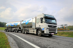Volvo FM Valio Milk Tank Truck on the Road. SALO, FINLAND - SEPTEMBER 21, 2014: Volvo FM milk tank truck hauls Valio milk. The Valio milk trucks collect 5 stock images