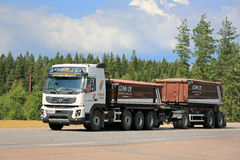 Volvo FMX Construction Trailer Truck on the Road Royalty Free Stock Image