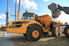 Volvo A40G Articulated Hauler Dumper Truck. HYVINKAA, FINLAND - SEPTEMBER 11, 2015: Volvo A40G Articulated hauler or dumper truck on display at MAXPO 2015 Stock Photo