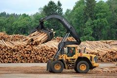 Volvo L180F HL Log Loader Handling Logs Royalty Free Stock Image