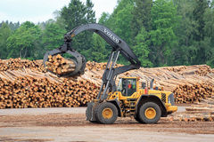 Volvo L180F HL Log Loader Handling Logs Stock Photos
