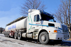 Volvo NH12 420 Conventional Cab Tanker Truck at Spring Stock Images