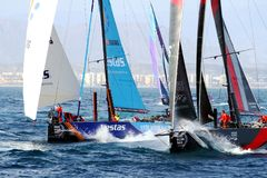 Volvo Ocean Race 2017-18. Epic start of the Volvo Ocean Race 2017-18 and possibly one of the most exciting start we`ve seen from Alicante royalty free stock image