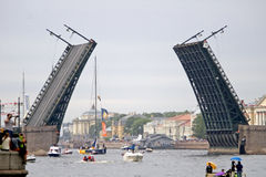Volvo Ocean Race, Finish (4). Volvo Ocean Race, Finish  in St. Petersburg, Russia. Neva river, under Palace bridge. June, 27, 2009 Royalty Free Stock Image
