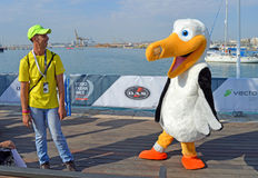 Volvo Ocean Race 2014 - 2015 Mascot. Wisdom the Albatross who is the mascot of the 2014 - 2015 round the world Volvo ocean Race poses for a photo with his minder Stock Photos