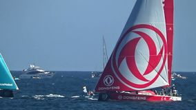 Dongfeng Team, Akzonobel Team and Vestas Team fighting in VOR race 2017. stock footage