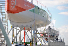 Volvo Ocean Race public Area Alicante Village Port, embarcations mounting for start the race Royalty Free Stock Photos