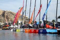 Volvo Ocean Race sailboats inport. ALICANTE, SPAIN - OCTOBER 10th: Volvo Ocean Race. Alicante Race Volvo Village. Volvo Ocean 65 sailboats docked. Volvo Ocean stock photos
