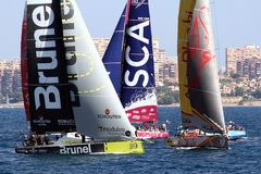 Volvo Ocean Race sailboats in race Royalty Free Stock Photos