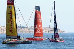 Volvo Ocean Race sailboats in race Stock Images