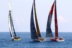 Volvo Ocean Race sailboats in race Stock Photo