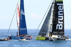 Volvo Ocean Race sailboats in race Stock Image