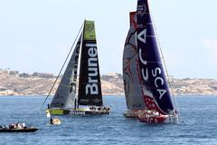 Volvo Ocean Race sailboats in race Stock Photography